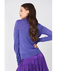 NA-KD - Polo Neck Glittery Sweater Purple - Lyst