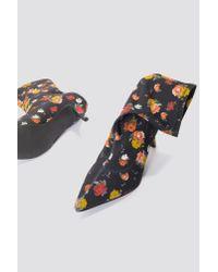 NA-KD - Blue Kitten Heel Sock Boot Yellow Flower - Lyst