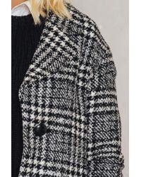 Trendyol - Black Checked Wide Collar Coat - Lyst
