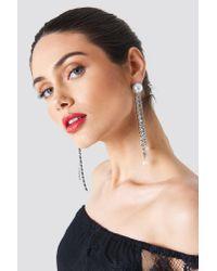 Trendyol - Metallic Hanging Rhinestone Earrings - Lyst