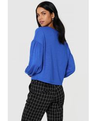 NA-KD - Blue Balloon Sleeve Sweater Cobolt - Lyst