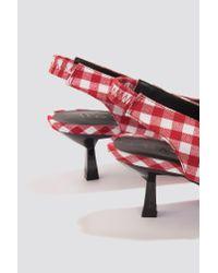 NA-KD - Gingham Kitten Heel Pumps Red/white - Lyst