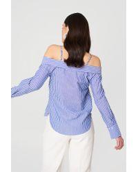 Mango - Blue Cold Shoulder Blouse - Lyst