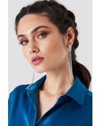 NA-KD - Metallic Strand Crystal Earrings - Lyst