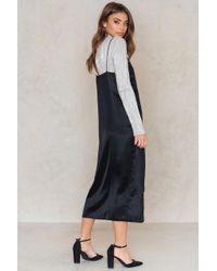NA-KD - Black Asymmetric Slit Slip Dress - Lyst