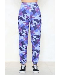 Nasty Gal - Blue March Of The Damned Camo Joggers - Lyst