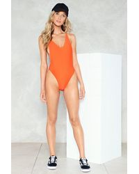Nasty Gal - Orange Alina High-leg Swimsuit Alina High-leg Swimsuit - Lyst