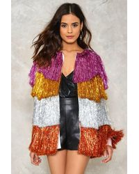 Nasty Gal - Multicolor Party Crasher Fringe Jacket - Lyst