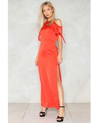 Nasty Gal Red If You Never Tie Cold Shoulder Dress