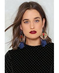 Nasty Gal - Blue Swing By Tassel Earrings - Lyst