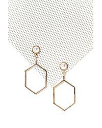 Nasty Gal - Metallic Pearl Stud Geo Earring Pearl Stud Geo Earring - Lyst