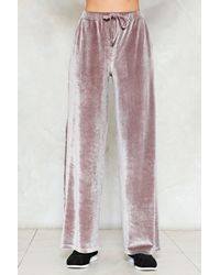 Nasty Gal - Multicolor Touch Too Much Crushed Velvet Jogger Pants - Lyst