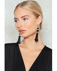 Nasty Gal - Black Beaded Tassel Earring Beaded Tassel Earring - Lyst