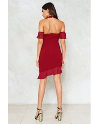 """Nasty Gal - Red """"don't Ruffle In Silence Halter Dress"""" - Lyst"""