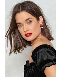 Nasty Gal - Red Lips Studded Diamante Earrings Lips Studded Diamante Earrings - Lyst