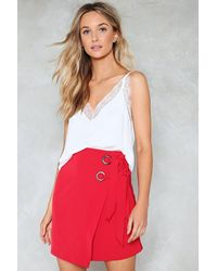Nasty Gal - Red Eyelet Wrap Tie Mini Skirt Eyelet Wrap Tie Mini Skirt - Lyst