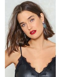 Nasty Gal - Green Plant Help It Diamante Earrings - Lyst