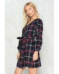 Nasty Gal - Black Got A Checkered Past Wrap Dress - Lyst