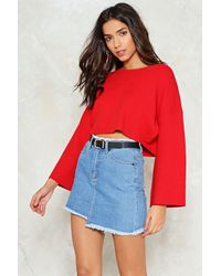 Nasty Gal | Red Bell It Like It Is Cropped Sweater | Lyst