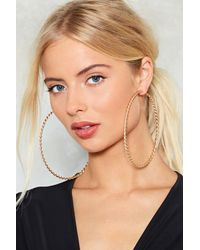 Nasty Gal - Metallic Up To Speed Twist Hoop Earrings - Lyst
