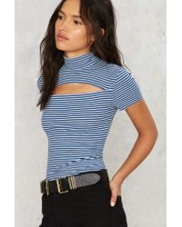Nasty Gal - Blue After Party Vintage Slash Out Ribbed Tee - Lyst