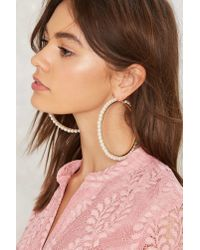 Nasty Gal - Metallic Kiss The Pearl Hoop Earrings - Lyst