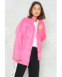 Nasty Gal - Pink Baby It's Cold Outside Velvet Quilted Coat - Lyst