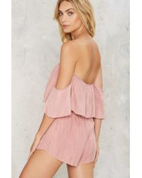Nasty Gal - Pink Take It Off-shoulder Ruffled Romper - Lyst