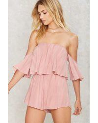 Nasty Gal - Pink Take It Off-shoulder Ruffled Romper - Lyst