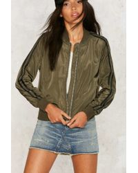 Nasty Gal - Green Patch Me On The Flipside Bomber Jacket - Lyst