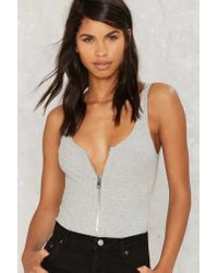 Nasty Gal - End Of The Night Ribbed Bodysuit - Gray - Lyst