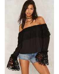 Nasty Gal | Take Up Space Off-the-shoulder Top - Black | Lyst
