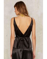 Nasty Gal - Black Temple Of Heaven Satin Top - Lyst