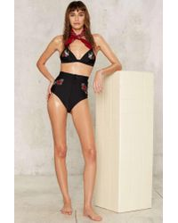 Nasty Gal - Black Word On A Wing Embroidered Bikini Bottom - Lyst