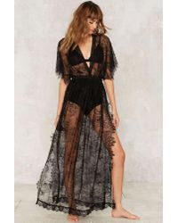 Nasty Gal | Black Lace Oddity Sheer Dress | Lyst