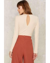 Nasty Gal - White Just A Slice Cut-out Bodysuit - Lyst