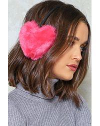 Nasty Gal - Pink Faux Fur Heart Ear Warmers Faux Fur Heart Ear Warmers - Lyst