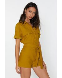 """Nasty Gal - Yellow """"how Are Utility Romper"""" - Lyst"""
