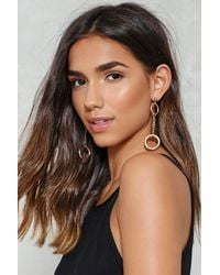 Nasty Gal - Metallic Double Circle Drop Earrings Double Circle Drop Earrings - Lyst
