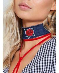 Nasty Gal - Blue Denim Rose Collar Necklace Denim Rose Collar Necklace - Lyst