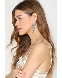 Nasty Gal - Metallic Embellished Tear Drop Tiered Hanging Earring Embellished Tear Drop Tiered Hanging Earring - Lyst