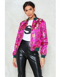 Nasty Gal - Pink All Systems Are Grow Satin Bomber Jacket - Lyst