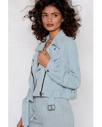 """Nasty Gal - Blue """"play The Right Cords Moto Jacket"""" - Lyst"""