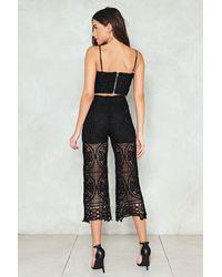 Nasty Gal - Black Crochet Top & Pants Co-ord Set Crochet Top & Pants Co-ord Set - Lyst
