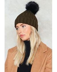 Nasty Gal - Natural Ribbed Bobble Hat Ribbed Bobble Hat - Lyst