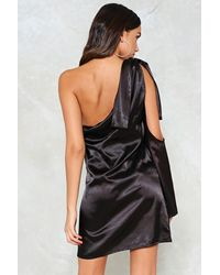 Nasty Gal - Black One For The Road Satin Dress - Lyst