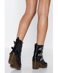 """Nasty Gal - Black """"look A Million Buckles Studded Boot"""" - Lyst"""