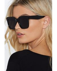 Nasty Gal - Black Highway To Hell Square Shades - Lyst