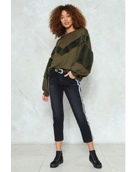 Nasty Gal - Multicolor Chevron Jump Ahead Faux Fur Sweatshirt - Lyst