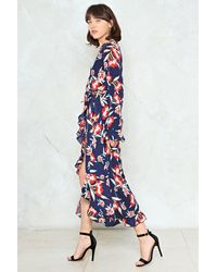 Nasty Gal - Blue Frill Hem Wrap Midi Dress Frill Hem Wrap Midi Dress - Lyst